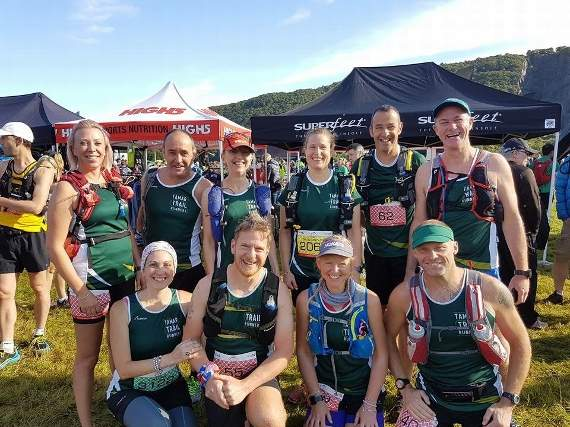 Tamar Trail runners on top of Snowdon mountain challenge